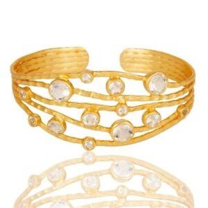 Crystal Quartz 18K Gold Plated Sterling Silver Handmade Bangle Bracelet Jewelry