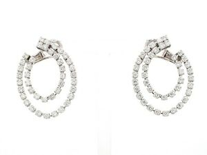 Pave Diamond Double Round Stud Earrings 10k Solid White Gold Handmade Jewelry