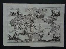 1737 SCHERER Atlas WORLD Map Beatam Medicent Omnes Generations California Island