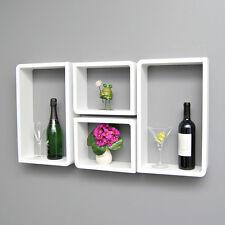 4er Set Lounge Cube Regal Board Design Retro 70er Wandregal Hängeregal Weiss NEU