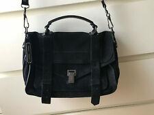 PROENZA SCHOULER PS1 Medium M Bag Black Noir Suede Sac + carte authentification