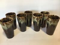 Vintage USA Brown Drip Glaze Pottery Drinking Glasses Tumblers SET OF 7 5.5""