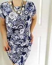 JENDI WOMENS DRESS PRINTED BLUE WHITE COTTON  SPANDEX SHORT SL WORK PARTY SZ 8