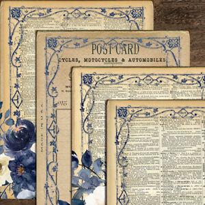 Vintage Flower Paper Pad English Scrapbooking Journal Cardstock Card Album DIY