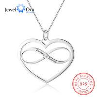 Herz & Unendlichkeit Liebesform personalisierte Gravur Name Halskette 925 Silber