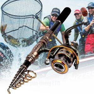 5.9 - 9.8FT Spinning Fishing Kit Baitcastion Combo 11BB Metal Reels + Carbon Rod