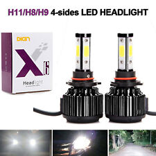 4-Sides H11 H9 H8 LED High or Low Beam Headlight Kit 6000K Bulb Super White