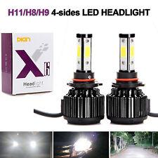 4-Sides H11 H9 H8 LED High or Low Beam Headlight Kit 6000K Bulb Super White