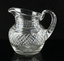 vintage cut glass jug / pitcher with hollow glass handle
