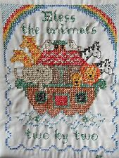 Vintage Bless The Animals Two by Two Noah's Ark Completed Stamped Cross Stitch