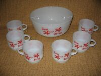 Vintage Fire King Anchor Hocking Tom Jerry Punch Bowl Set Christmas White Red
