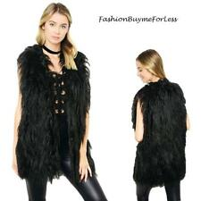 BOHO Black Faux Wool Shearling Lamb Fur Long Shaggy Tunic Vest Coat  S M L XL 1X