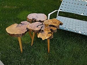 Natural Olive Wood Live Edge  Nesting Tables 3pcs Set