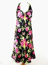 KALEIDOSCOPE Floral Halterneck Dress 12 Black Satin Brooch Wedding Guest Cruise