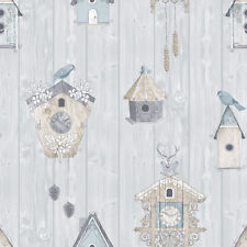 Sky Blue Wood Panel Birdhouse Stag Head Wallpaper by Rasch 229004