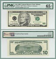 1999 Star $10 Atlanta Federal Reserve Note PMG 65 EPQ Gem Unc Currency FRN