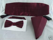 Top Shiny Burgundy Bow Tie Cummerbund and Hankie Set Over 60 Colours in Shop