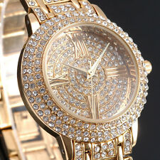 Gold Bling Luxury Women Ladies Watches Full Crystal Quartz Bracelet Wrist Watch