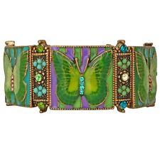 Kirks Folly Butterfly Mosaic Stretch Bracelet Brasstone & Green