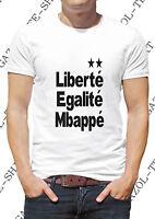 """T-shirt """"Deux étoiles. Liberté égalité Mbappé"""". Tee-shirt humour 2 étoiles."""