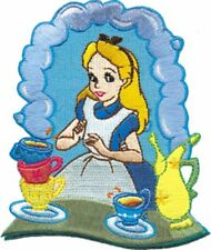 """Alice in Wonderland with Tea at the Tea Party 4"""" Tall Embroidered Costume Patch"""
