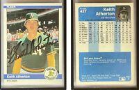 Keith Atherton Signed 1984 Fleer #437 Card Oakland Athletics Auto Autograph
