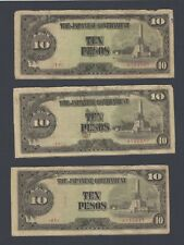 Japan 3 Pieces 10 Pesos 1943 Military notes