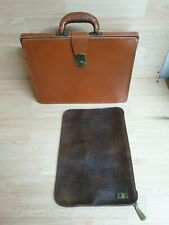 Vintage Cheney Document case + Tan Leather Briefcase, Satchel Holdall
