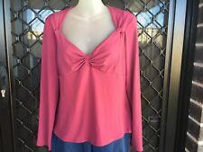Rockmans Women's Shirt - Mauve, Empire Waist, Long Sleeve, V-neck - Size M