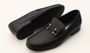 Salvatore Ferragamo 'Grandioso' Bit Loafers Black Leather Mens Shoes Size 11 EE