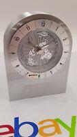 Benchmark STAINLESS STEEL BILLET  Desk ALARM Clock Quartz Movement World Time