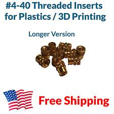 20x #4 4-40 Long Brass Threaded Heat Set Inserts for Plastic 3D Printing Metal