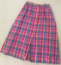 Vintage Courtland Collection Pink Plaid Max Button Down Pockets Size 10 Skirt