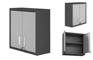Garage Storage Cabinet Wall Mounted Metal Door Organizer Locking Cupboard Pantry