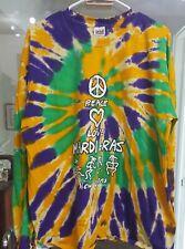 New OrleansPeace Love Mardi Gras Tie Dye Long Sleeve TShirt Purple Gold Green XL