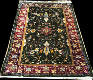 A Collectible Museum Piece, Antique 100% Silk Mughal Agra Area Rug