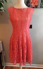 GABBY SKYE Women's A Line Lined Lace Sleeveless Dress - Salmon Pink Size 12