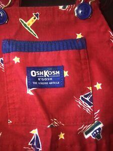 Vintage Osh Kosh B'gosh Vestbak Overalls Shirts Red Boat Tugboat Nautical 3T