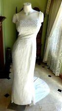 MONIQUE BRIDAL WHITE CHIFFON BEADED MERMAID STYLE WEDDING DRESS SIZE 6
