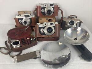 Lot of 4 Argus Cameras C4  c-twenty 20 couple cases cintar lenses extras *read*