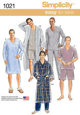 Simplicity Easy SEWING PATTERN 1021 Mens Robe & Nightshirt or Pyjamas XS-XL