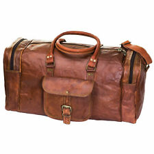 Large Vintage Men Real Prime Quality Leather Tote Luggage Bag Travel Duffle Gym