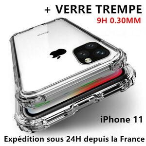 Antichoc Coque +Verre Trempé iPhone 11 12 Pro MAX/X/XR 6/7/8 SE Vitre Protection