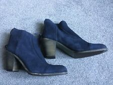 Hoss Intropia Womens Blue Suede Zip Up Ankle Boots Size 40 UK 7