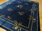 9x12 Antique Blue Art Deco Chinese Oriental Area Rug wool ca 1920 Floral