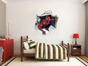 3D Spiderman hole in the wall LARGE VINYL WALL STICKER DECALS CHILDREN Room 76