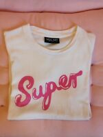 Lazy Oaf 'Super' Tee Shirt Size Small Pink And White Cute Rare T-shirt Rare