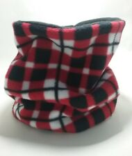 Red check SNOOD handmade neck warmer tubular scarf double fleece adult/child