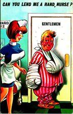 Bamforth Comic Series Lend Me A Hand Nurse Artist Signed Taylor UNP Vtg Postcard