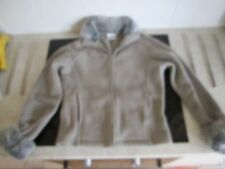 Next stretchy microfibre pale green fleece zip up jacket with faux fur trim - 10